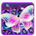Colorful Glitter Neon Butterfly Keyboard Theme
